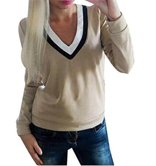 Tayaho Camiseta Mujer Blusa Manga Larga Patchwork Camiseta Corto Cuello V Camisa Oficina Clasicos T-shirt Ocasionales Tops Elegantes Modernas: Amazon.es: ...