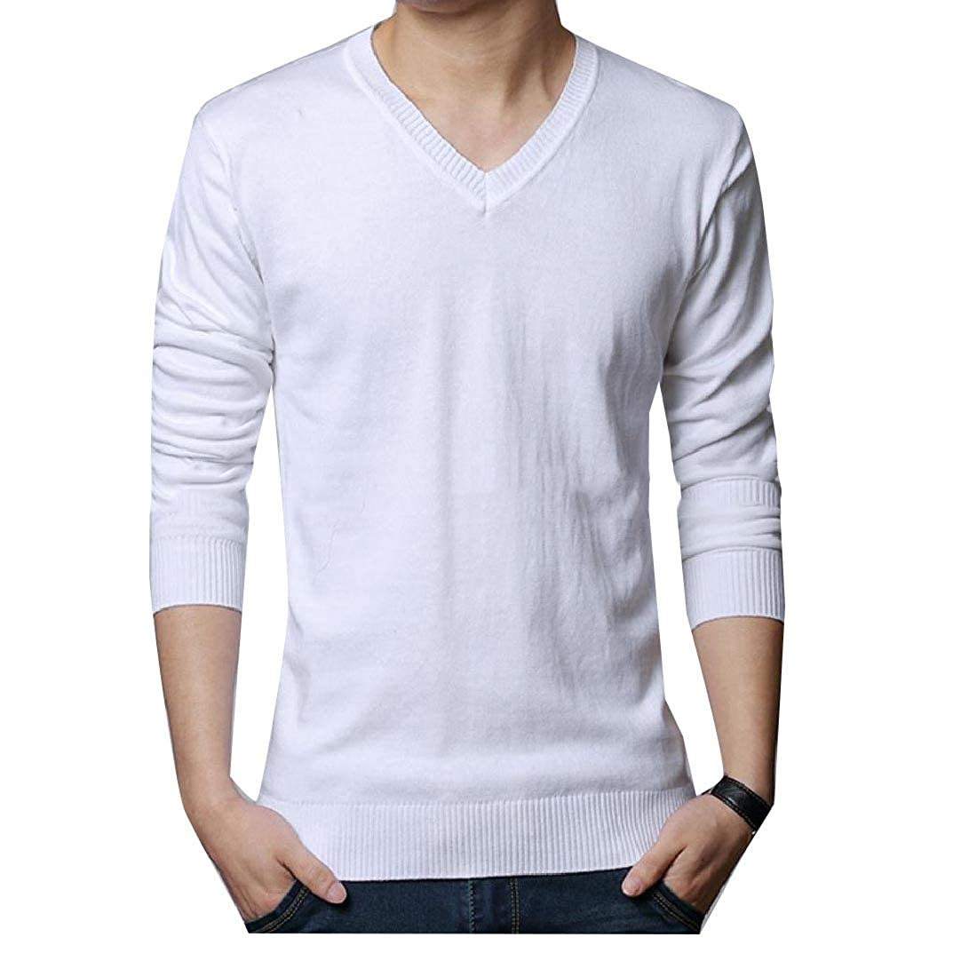 YUNY Men Solid Colored Knit V Neck Comfort Simplicity Pullover Sweater White S