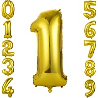 """GWHOLE Number Balloons 32 inch Gold Color """"1"""" Foil Balloons Number Balloon Decoration for Birthday Wedding Engagement…"""