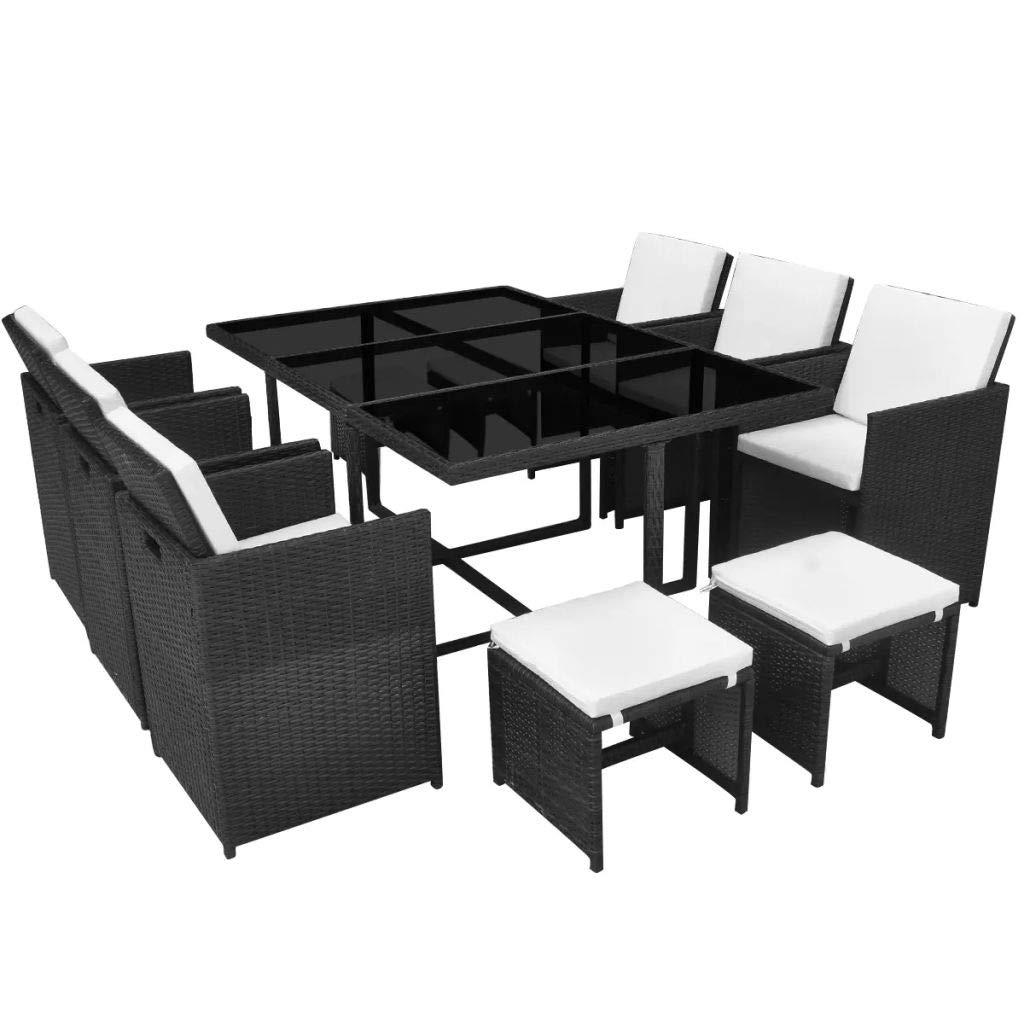mewmewcat Garten Essgruppe 27-TLG. Poly Rattan Gartenmöbel Set Tischset Sitzgruppe | Tisch und Stuhl Set | Gartentisch und Stühle | Gartensofa Set