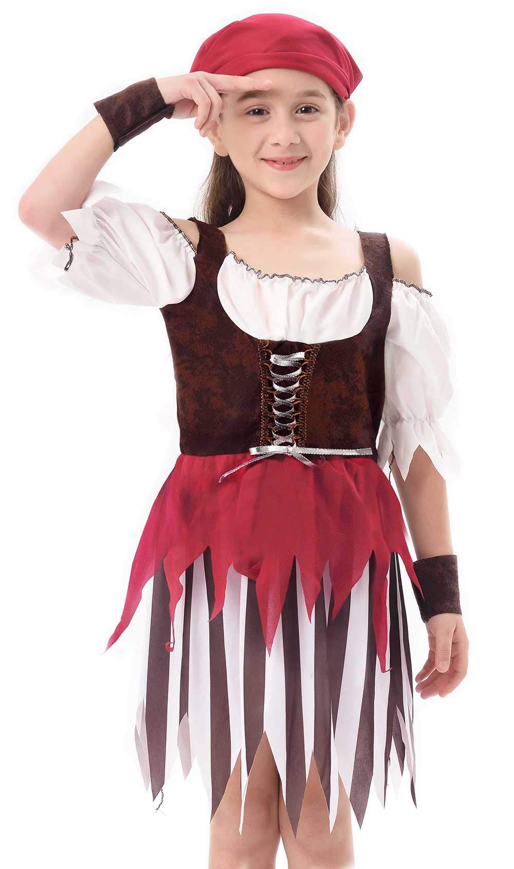 IKALI Baby Toddler Girl Pirate High Seas Buccaneer Costume Party Decoration Toy Kids Pretend Play Pirate Fancy Dress (6-8Y)