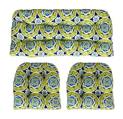 RSH Décor Indoor Outdoor Wicker Tufted 3 Piece Set 1 - Loveseat Settee & 2 - U - Shape Chair Cushions - Blue, Green, Yellow, White Bohemian Floral Cushions (44