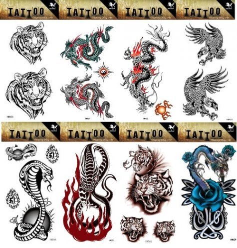 Grashine 8pcs different long last and realistic temporary tattoos in 1package, it including tiger heads,dragons,eagles,cobra and snake tattoo stickers ()