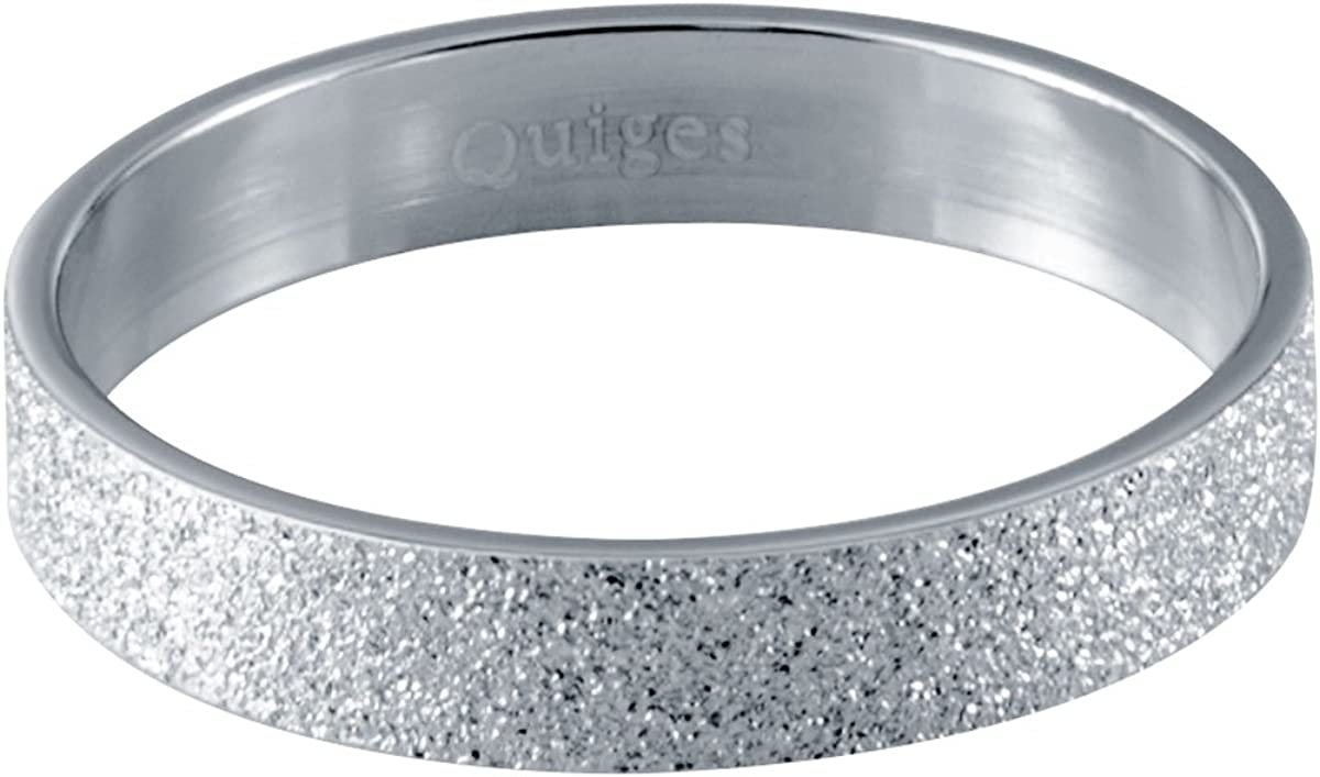 Quiges Stainless Steel White CZ Multi Color Duo Tone Stackable Ring Set with 3 Inner Rings and 1 Base Ring