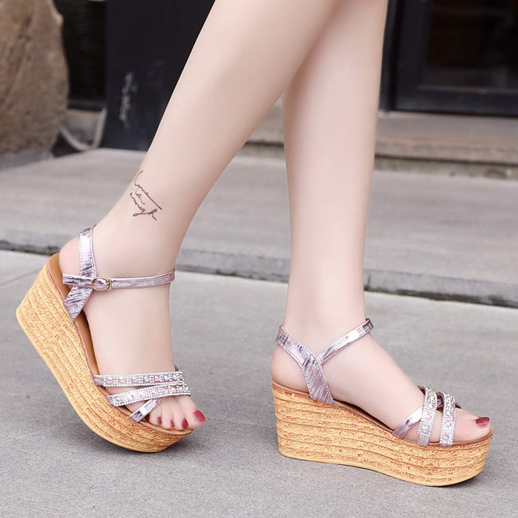 Opinionated Womens Wedges Platform Sandals Womens Single Button Sequins High Heel Platform Hollow Toe Sandals