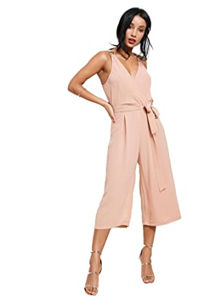 5b6464b898c Influence Pink Buckle Wrap Cropped Women s Jumpsuit Pink 14 From Brand Attic
