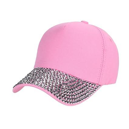 ❤️Amlaiworld Visor de Verano Mujer Gorra de béisbol Mujer Gorra de Snapback con Forma de Pata de Diamante de imitación Sombreros Plano (Rosado): ...