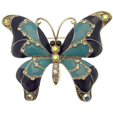 Acosta - Broche de Mariposa de Cristal esmaltado Azul - Tono ...