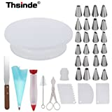 Cake Turntable,Thsinde 34 Cake Decorating with Cake Turntable,1 Icing Spatula,24 Stainless Icing Tip,1 Pastry Bags,1 Cake Brush,1 Cake Cutter,1 Cake Pen,3 Cake Scrapers