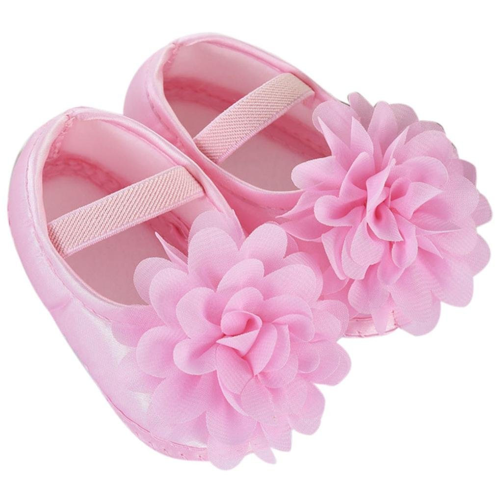 Hot Sale ! Kstare Baby Girl Toddler Infant Chiffon Flower Elastic Band Sole Prewalker Crib Shoes (US:2 /0~6 M, Pink)