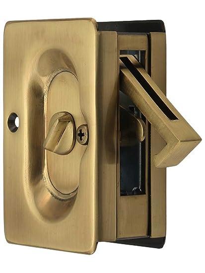 Emtek Pocket Door Privacy Lock Set, Antique Brass - Emtek Pocket Door Privacy Lock Set, Antique Brass - Pocket Door