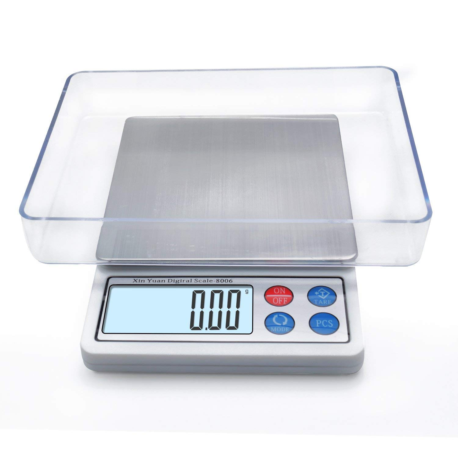 Toprime Digital Gram Scale, Mini Size Food Scale 600g x 0.01g, High Precision Pocket Scale with LCD display and 1 Tray, Stainless Steel, PCS, Convert Unit - White