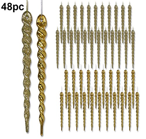 s - Set of 48 Hanging Icicles - Packaged Includes 24 Shiny Gold Icicles and 24 Glitter Icicles - Shatterproof Icicle Ornaments (Long Icicle Ornaments)