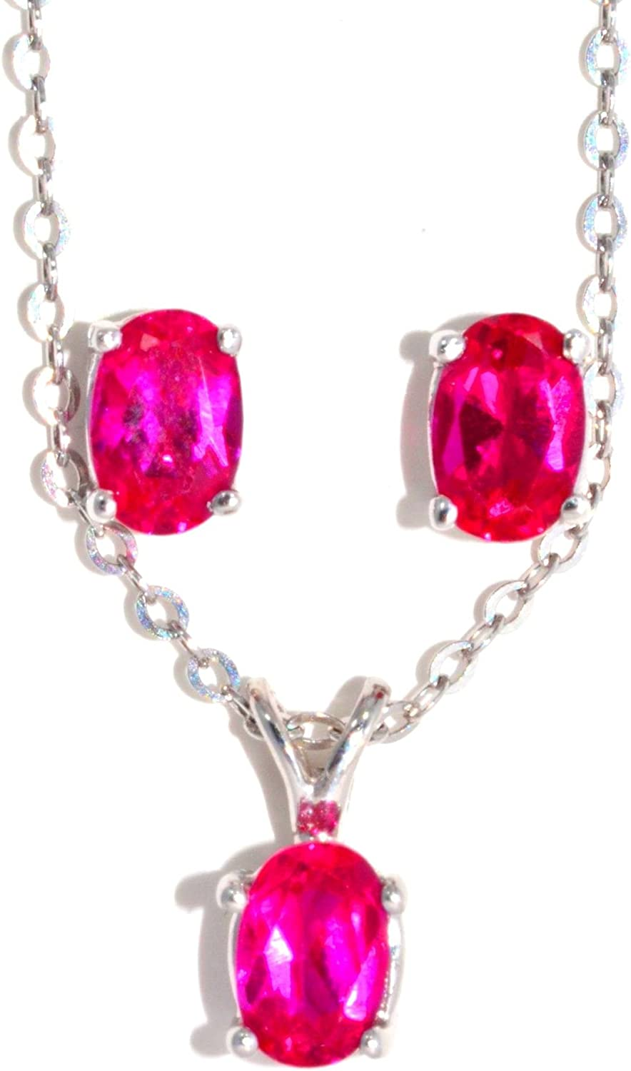 1.5 Carat Created Ruby Oval Stud Earrings /& Pendant Set .925 Sterling Silver Rhodium Finish