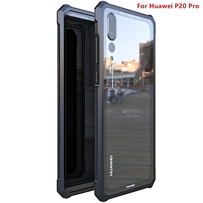 info for b7181 95005 Huawei P20 Pro Case,DAYJOY Luxury Design Premium Aluminum Metal Shockproof  Bumper Frame Case With tempered Glass Back Cover for Huawei P20 Pro (BLACK)