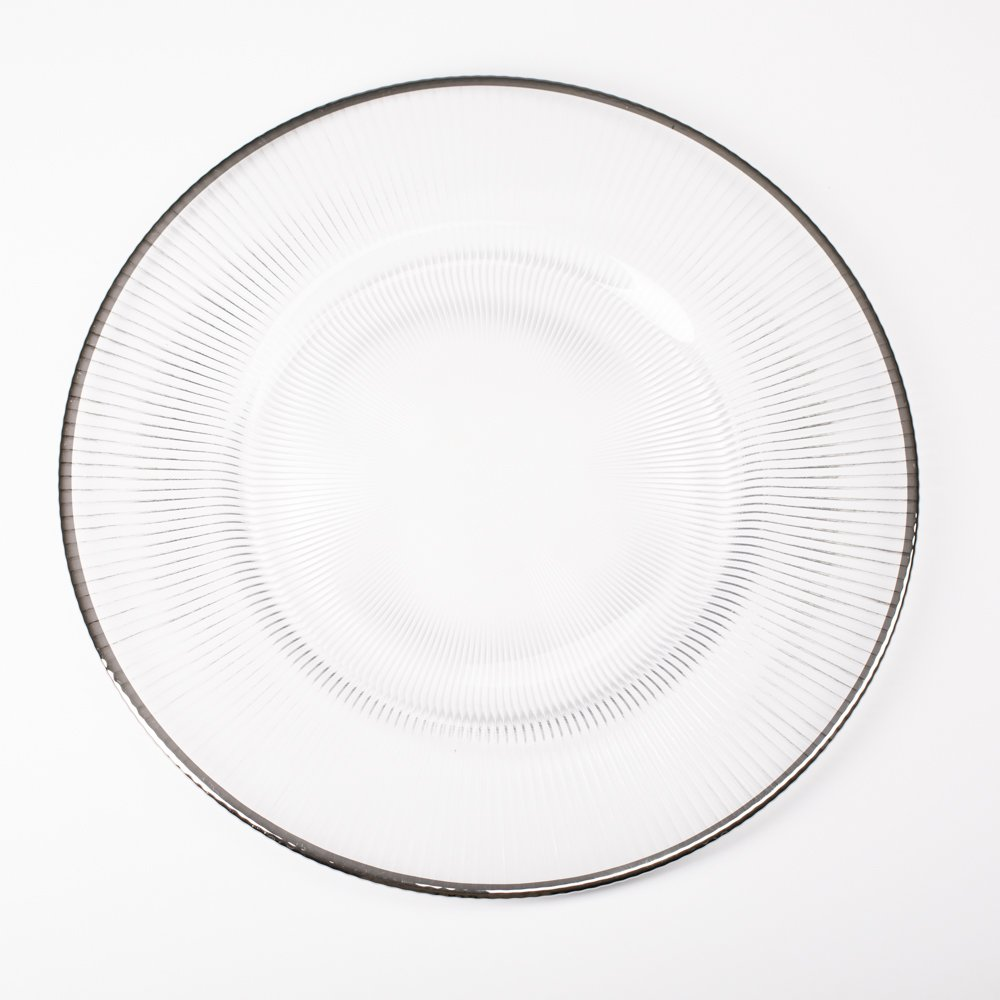 Richland 13'' Silver Rim Glass Charger Plate Set of 48