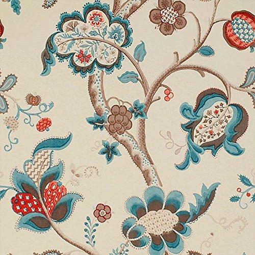 Teal / Cherry - DVIWRO105 - Roslyn - Vintage - Sanderson Wallpaper