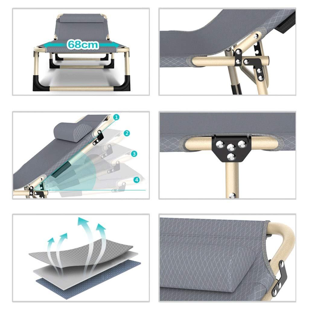 GLLT Folding Camp Bed Steel Structure Recliner Double PE Waterproof Oxford Cloth Plus Mattress Bearing Weight 160 Kg 194CM