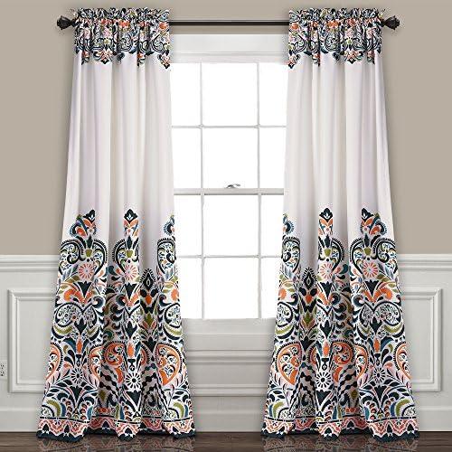 Lush Decor Clara Curtains Paisley Damask Print Bohemian Style Room Darkening Window Panel Set