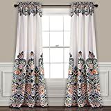 Lush Decor Clara Curtains Paisley Damask Print Bohemian Style Room Darkening Window Panel Set for Living, Dining, Bedroom (Pair), 84' x 52', Navy & Tangerine