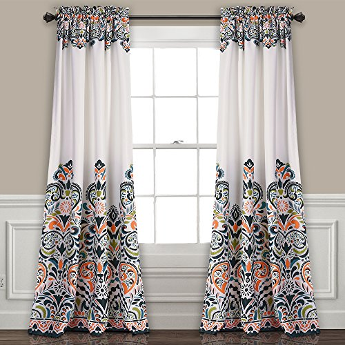 "Lush Decor Clara Curtains Paisley Damask Print Bohemian Style Room Darkening Window Panel Set for Living, Dining, Bedroom (Pair), 84"" x 52"", Navy and Tangerine"
