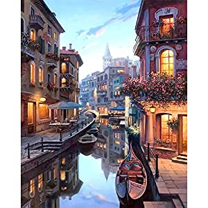 Bigie DIY Oil Painting Paint by Number Kit with Scenery People PBN Home Wall Art Decor 16x20inch (Frameless, Evening Venice)