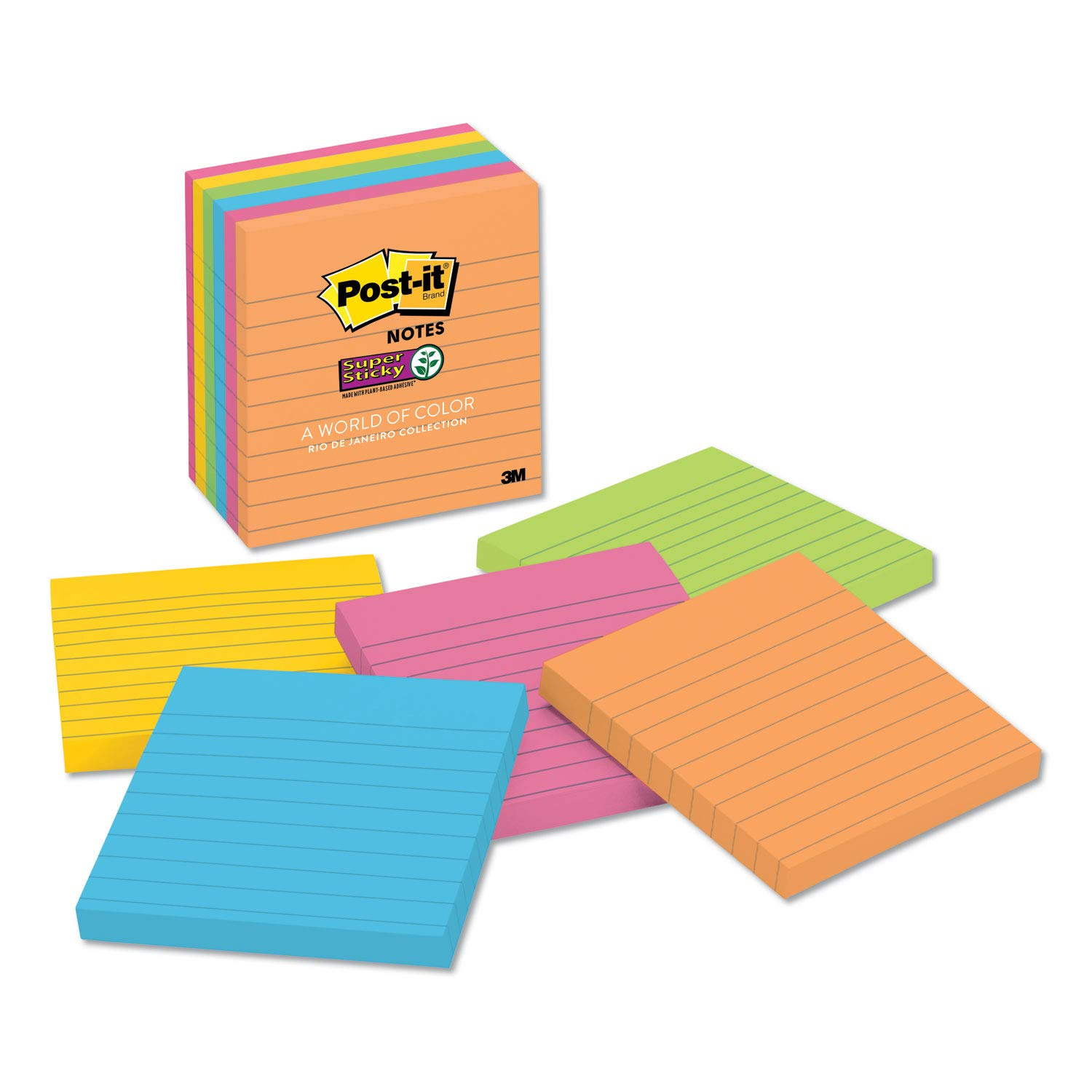 3M Pads in Rio De Janeiro Colors, Lined, 4 X 4, 90-Sheet, 6/Pack