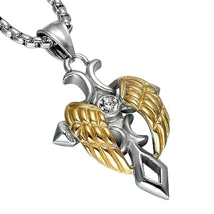 Collar de Hombre Angel Wing Pendant Cross Espada Acero ...