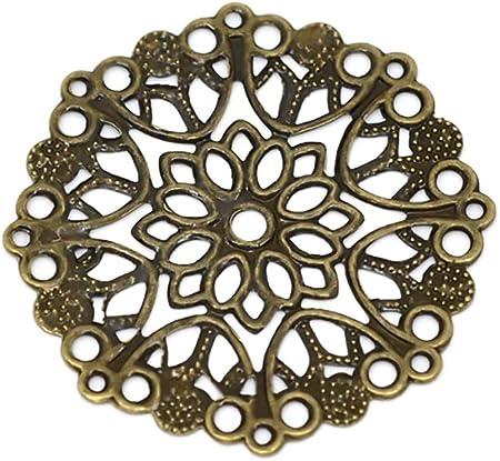 42,5x0,5 mm rund abstrakt 20 filigrane Deko Ornament Verzierungen antikbronze