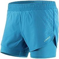 Lixada Mujeres Pantalónes Cortos Deportivos 2-en-1 Transpirable Pantalones+Secado Rápido para de Running Fitness Yoga