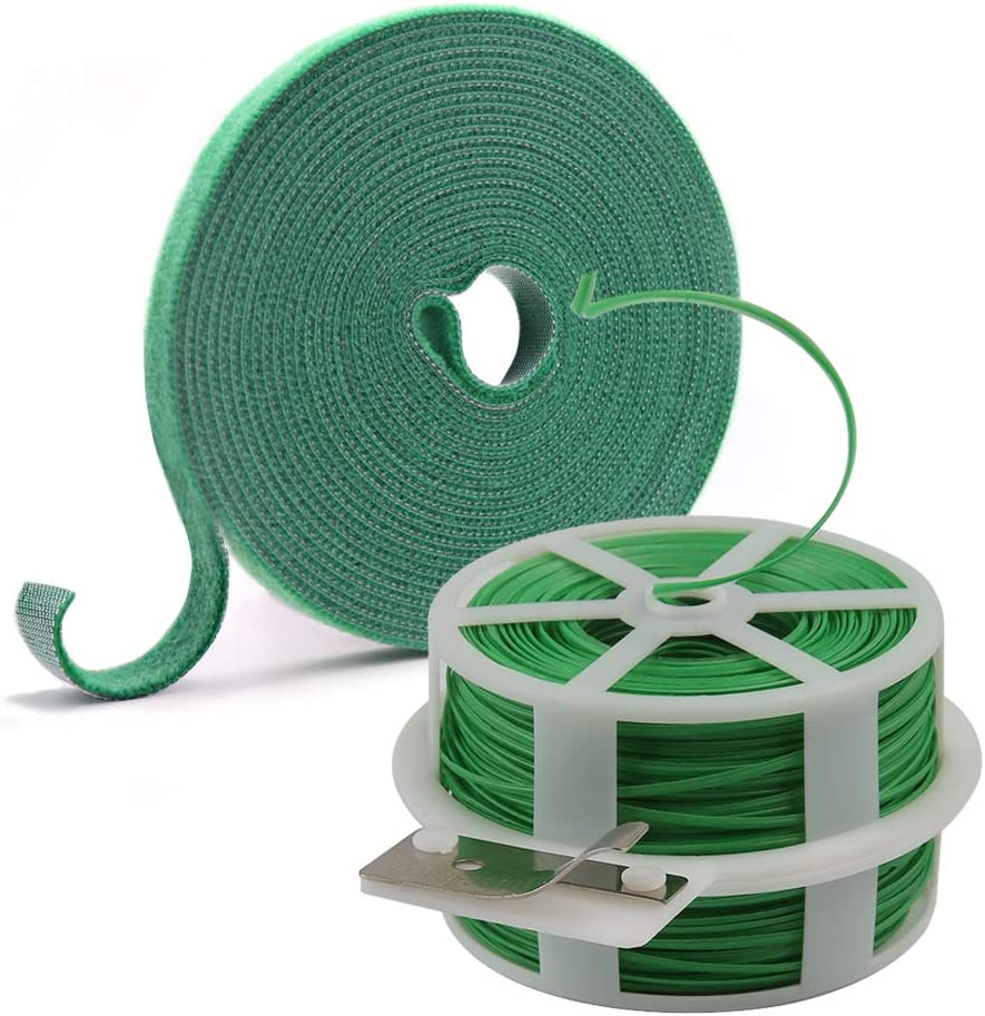 Shintop Garden Vines Ties,Plant Twist Tie with Cutter and Reusable Hook and Loop Fastening Tapes for Gardening, Home, Office (Green)