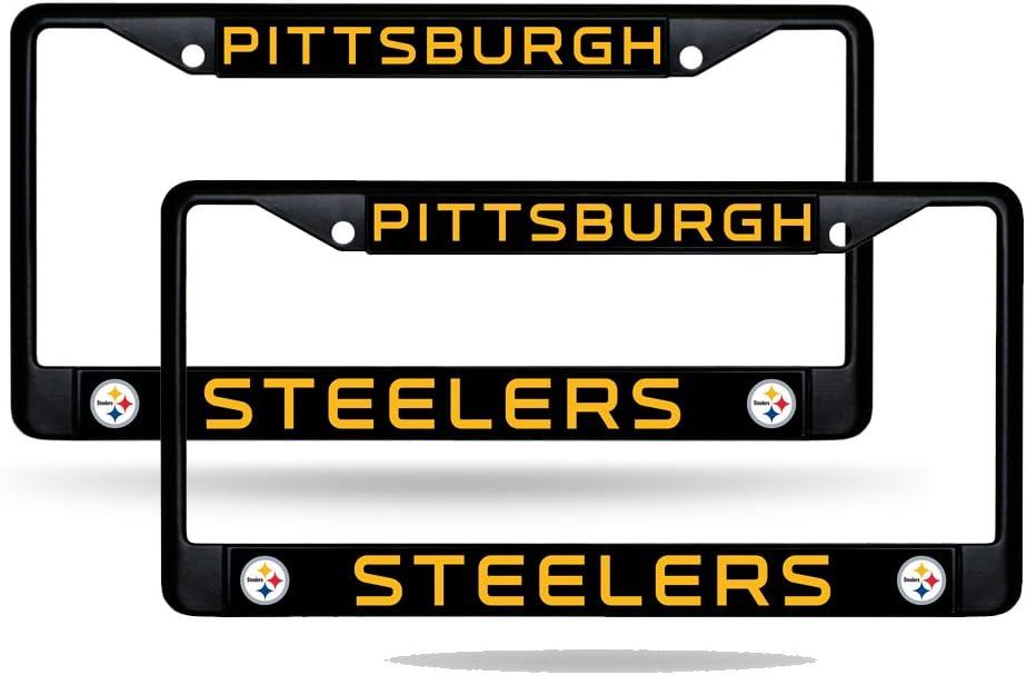 New NFL Pittsburgh Steelers Car Truck White License Plate Frames /& Screw Caps