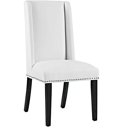 Incredible Baron Vinyl Dining Chair In White Caraccident5 Cool Chair Designs And Ideas Caraccident5Info