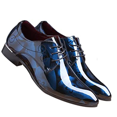 c68df8e91f9a SANTIMON Men Fashion Shoes Dress Pointed Toe Floral Patent Leather Lace Up  Oxford Blue 5 D