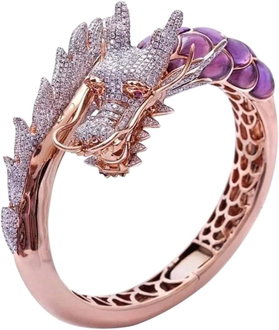 arret Middleton - Anillo de oro rosa de 14 quilates con piedra natural para boda, regalo de cumpleaños, diseño de dragón hip hop, talla 5-10 (Ninguno 9 GD)