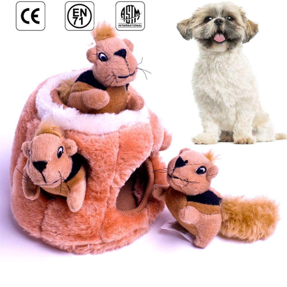 Hidden Squirrel Plush Dog Toy Bark Toy 4 Pieces, Training IQ Hide and Seek Vocal Bite Resistant Interactive Exercise Clean Teeth Fun Toy Brown