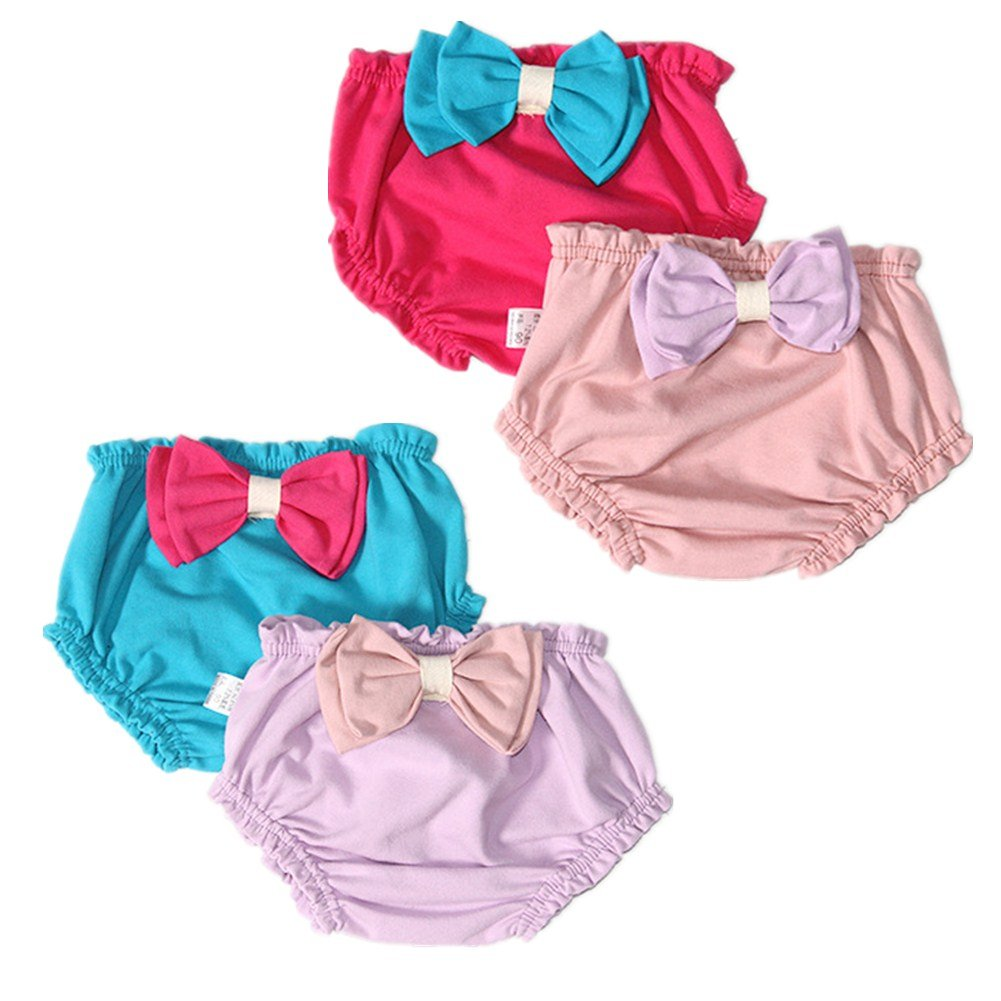 JIEYA Baby Girls 4-Pack or 6-Pack Cotton Training Underwear with Big Bow-Knot Toddlers Diaper Covers