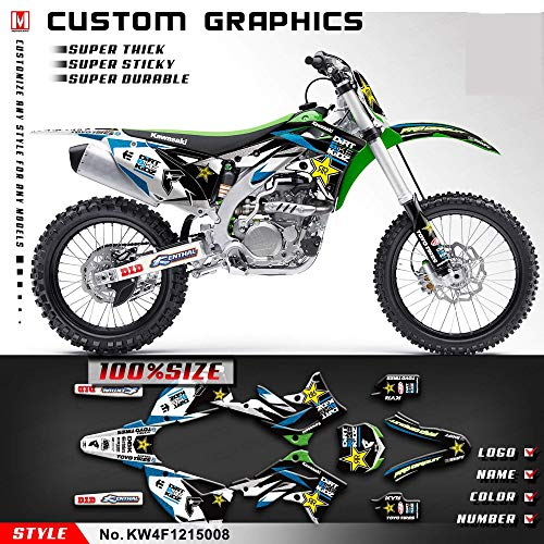 (Kungfu Graphics Custom Decal Kit for Kawasaki KX450F 2013 2014 2015, White Black Green)