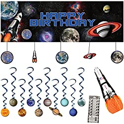 Space Blast Decoration Party Supplies Pack: Straws, Dizzy Danglers, Banner, and Centerpiece