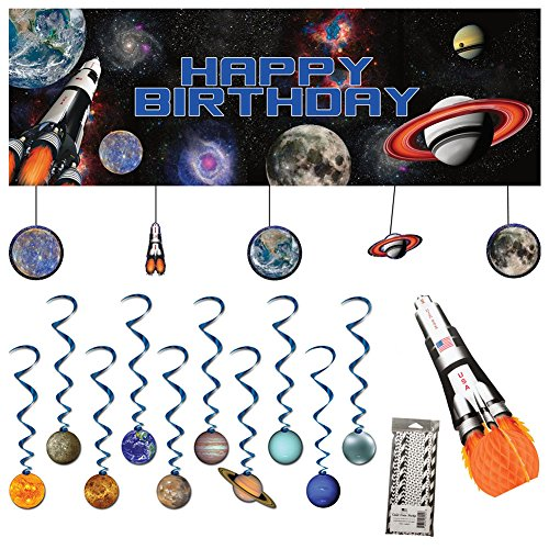 Space Blast Party Decorations Supplies Pack Includes: Straws, Dizzy Danglers, Banner, and (Space Party Decorations)
