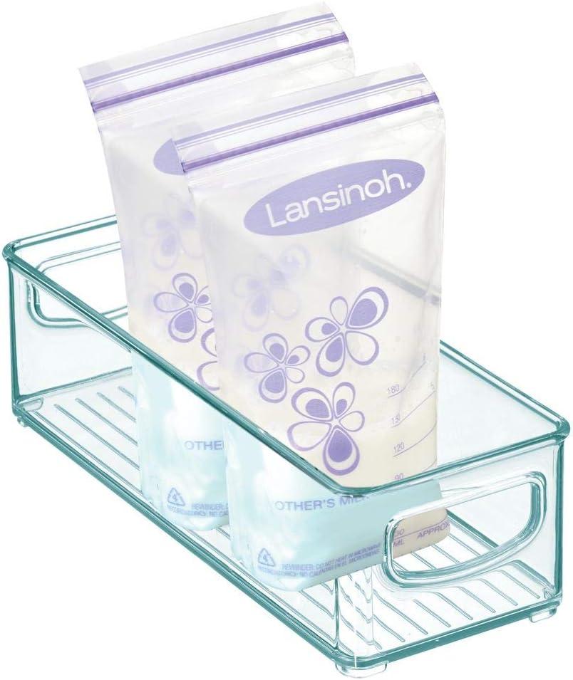 azul claro Organizador de cocina con asas Pr/áctica caja de almacenaje de pl/ástico para bolsas de leche materna mDesign Cajones de pl/ástico sin BPA para alimentos infantiles