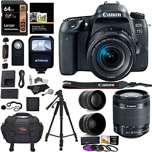 Canon EOS 77D Camera, EF-S 18-55 IS STM Lens, Lexar 64GB Memory, Ritz Gear Premium SLR Camera Bag, Polaroid Filter Kit, Flash and Accessory Bundle