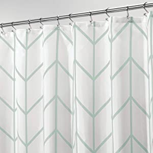 mDesign Decorative Herringbone Print - Easy Care Fabric Hotel Quality Shower Curtain with Reinforced Buttonholes, for Bathroom Showers, Stalls, and Bathtubs, Machine Washable - Mint Green
