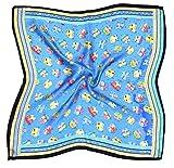 Blue Cat Printed Small Fine Pure Silk Square Scarf