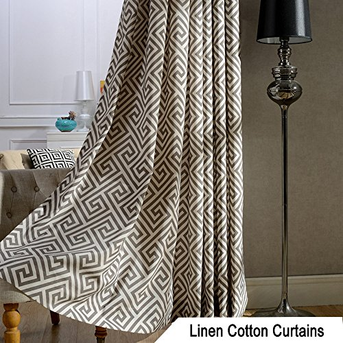 Dark Olive Geometric Curtains Valance - Anady Design Small Short Blackout Lined Curtains Tiers for Basement Grommet 30