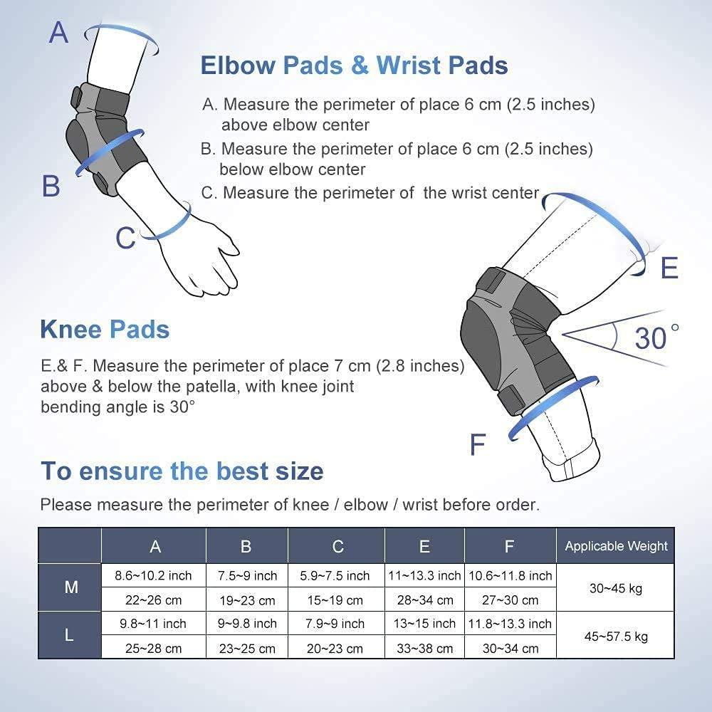 Skating Biking Scooter IPSXP Knee Pads Set Skateboard Cycling M//L Protective Gear for Kid Children Teenager Adult with Knee Elbow Wrist Pads for Rollerblading