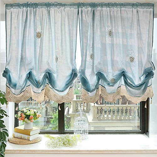 FADFAY Pastoral 57-Inch-by-69-Inch Adjustable Balloon Manual Hook Flower Shade Curtains,Light - Hooks Window Shade