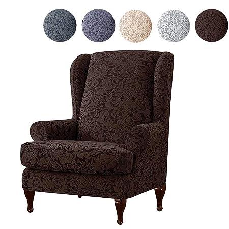 Fundas de Silla de ala, Fundas de sofá elásticas elásticas universales de 2 Piezas, Fundas de sillón de orejera con Fundas de Brazos extraíbles ...