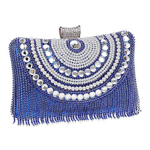 Pour Pochette Style Mariage Perles Rouge Sac Tassel Enveloppe À Soirée Cocktail Bal couleur Strass Zhongsufei Bleu Perle Main De qwzE5Ep