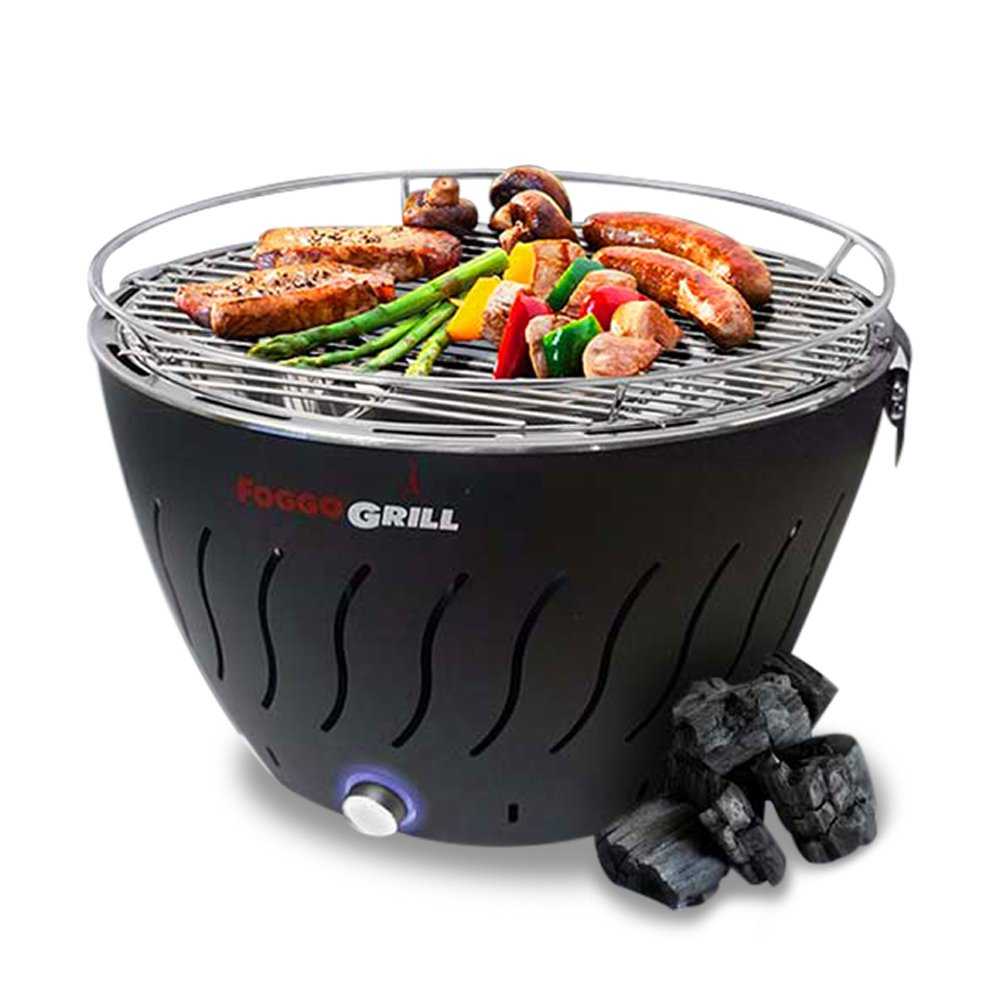Portable Grill | Smokeless | Stainless Steel Electric Indoor/Outdoor Charcoal BBQ Grill W/Battery Operated Fan | Perfect for Your Barbeque - Includes Travel Bag for Camping & Picnic. Foggo Grill
